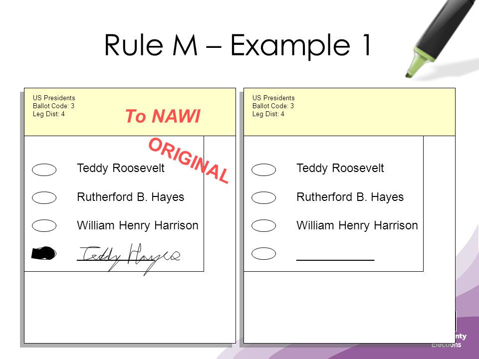Rule M – Example 1 Teddy Roosevelt Rutherford B. Hayes William Henry Harrison ____________ ORIGINAL US Presidents Ballot Code: 3 Leg Dist: 4 To NAWI D