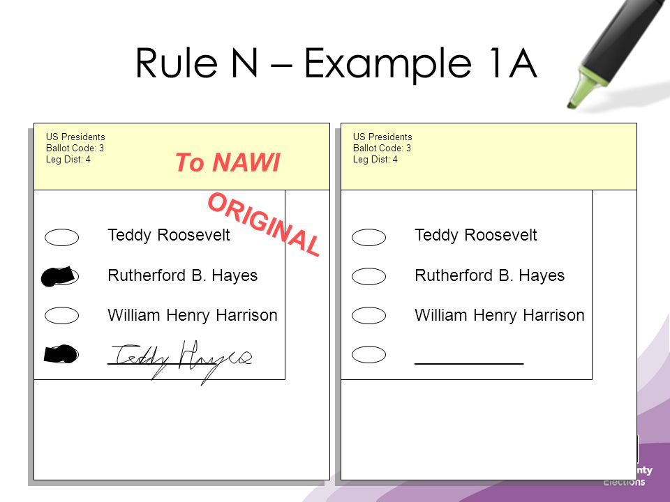 Rule N – Example 1A Teddy Roosevelt Rutherford B. Hayes William Henry Harrison ____________ ORIGINAL US Presidents Ballot Code: 3 Leg Dist: 4 To NAWI