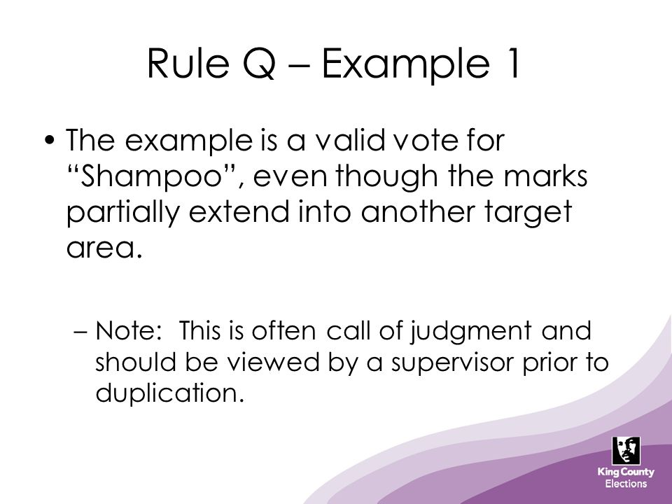 Rule Q – Example 1 The example is a valid vote for Shampoo , even though the marks partially extend into another target area.