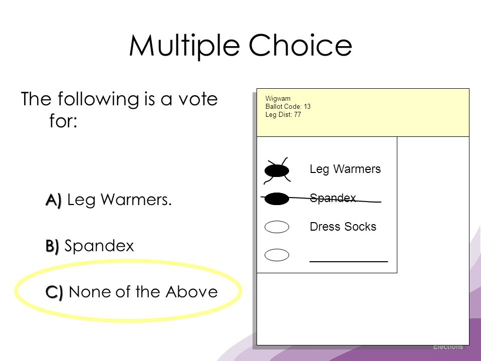 Multiple Choice The following is a vote for: A) A) Leg Warmers. B) B) Spandex C) C) None of the Above Leg Warmers Spandex Dress Socks ____________ Wig