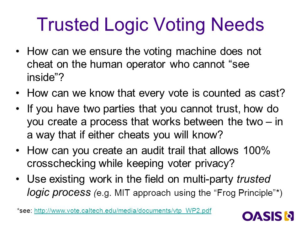 Trusted Logic Concept Party A Party B Take what Party A tells you ask Party B to tell you what that information says Compare the two Keep secure copy copies can be independently audited 1 2 3 4