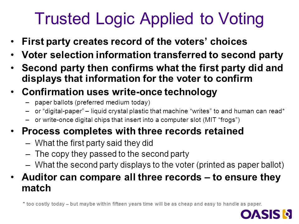 Quick Overview of EML History –Work begun in May 2001 in the USA and UK –Charter: To develop a standard for the structured interchange of data among hardware, software, and service providers who engage in any aspect of providing election or voter services to public or private organizations –UK government has implementations: UK Local Election pilots held in May 2003.