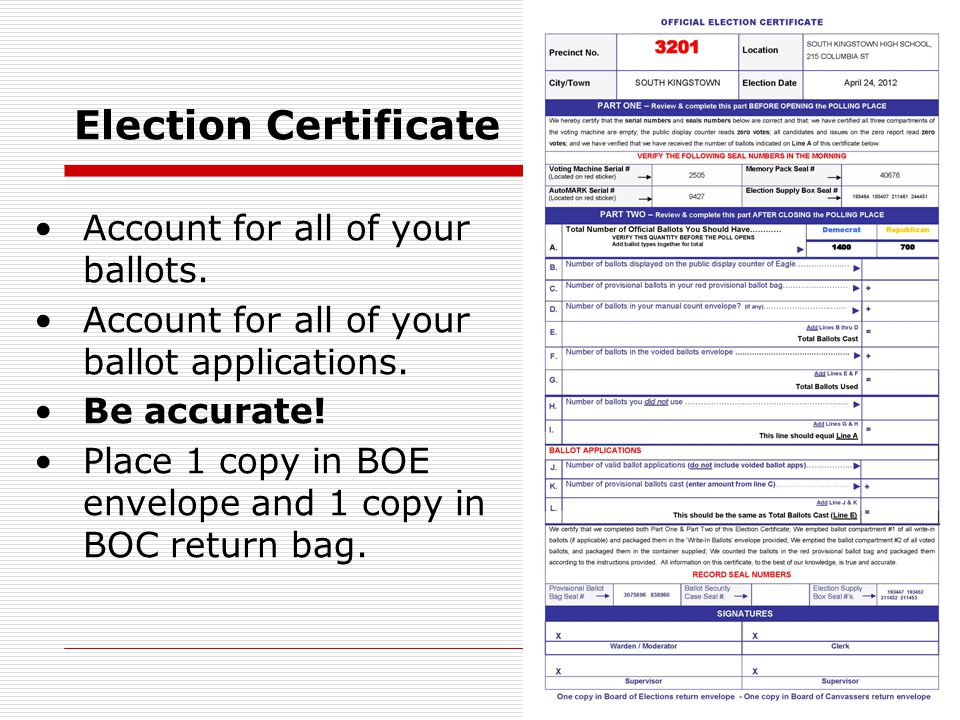 Election Certificate Account for all of your ballots.
