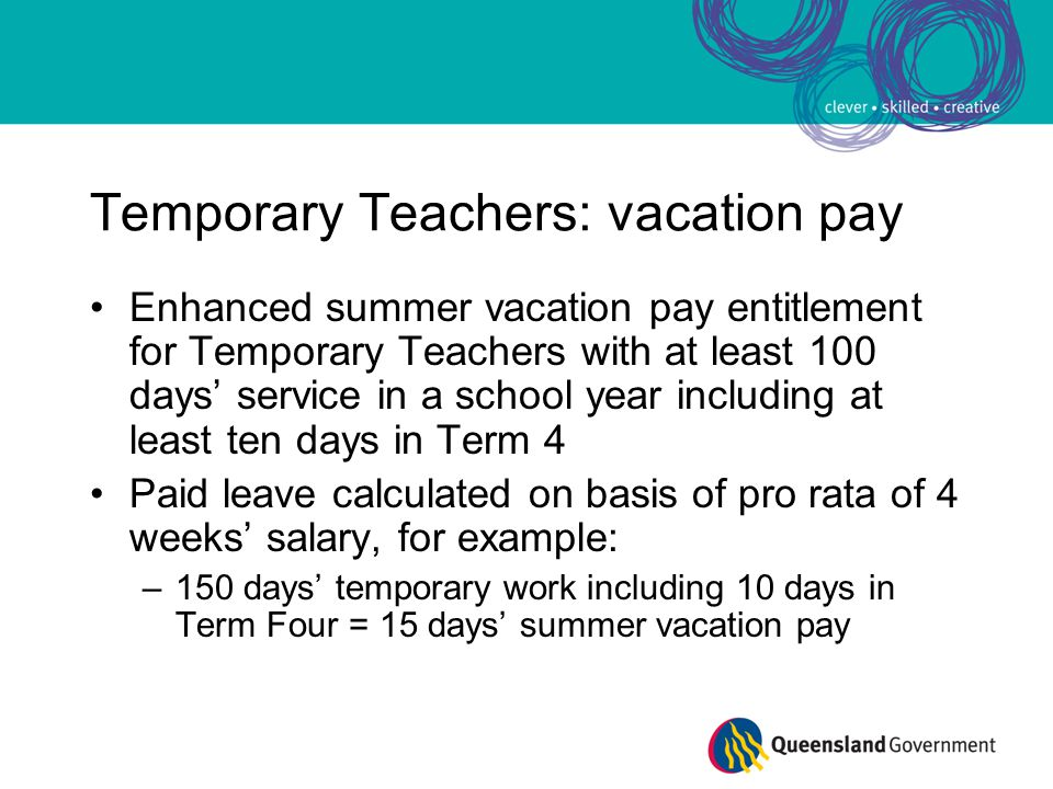 Temporary Teachers: vacation pay Enhanced summer vacation pay entitlement for Temporary Teachers with at least 100 days' service in a school year incl
