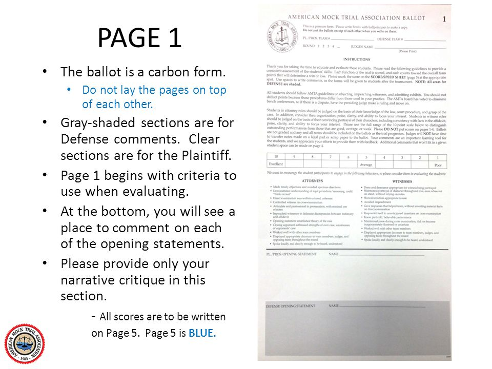 PAGE 1 The ballot is a carbon form. Do not lay the pages on top of each other. Gray-shaded sections are for Defense comments. Clear sections are for t