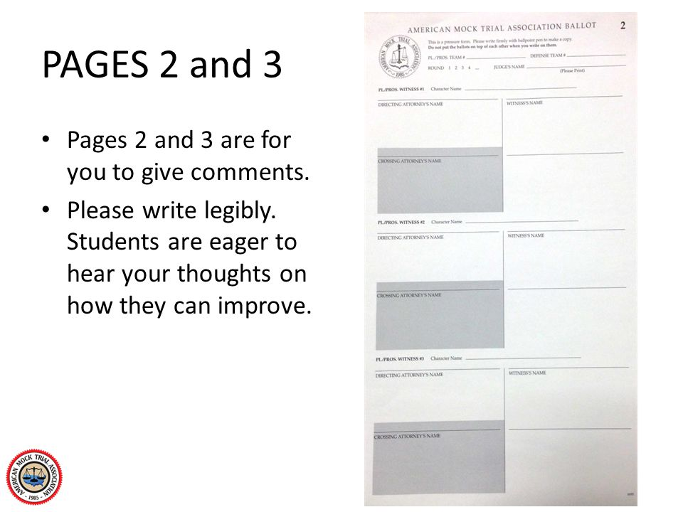PAGES 2 and 3 Pages 2 and 3 are for you to give comments. Please write legibly. Students are eager to hear your thoughts on how they can improve.
