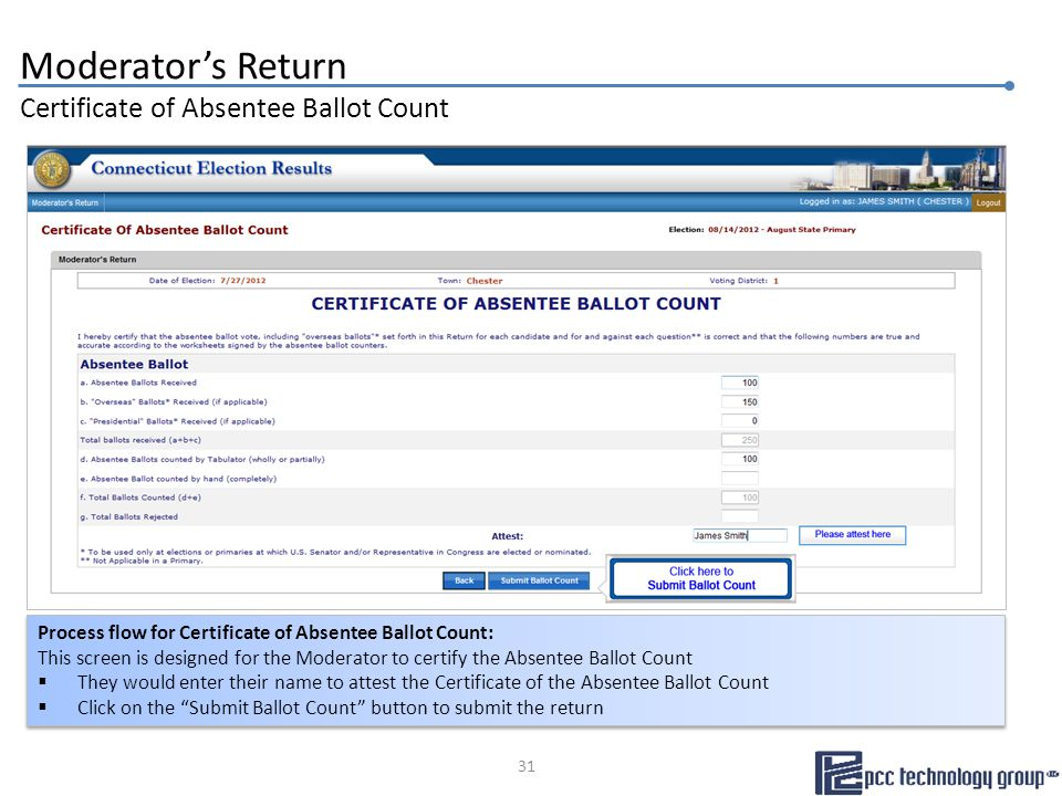 Moderator's Return Certificate of Absentee Ballot Count Process flow for Certificate of Absentee Ballot Count: This screen is designed for the Moderator to certify the Absentee Ballot Count  They would enter their name to attest the Certificate of the Absentee Ballot Count  Click on the Submit Ballot Count button to submit the return Process flow for Certificate of Absentee Ballot Count: This screen is designed for the Moderator to certify the Absentee Ballot Count  They would enter their name to attest the Certificate of the Absentee Ballot Count  Click on the Submit Ballot Count button to submit the return 31
