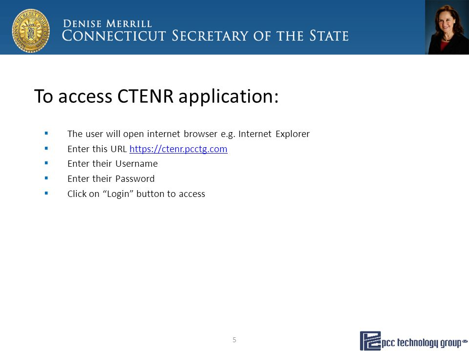 To access CTENR application:  The user will open internet browser e.g.