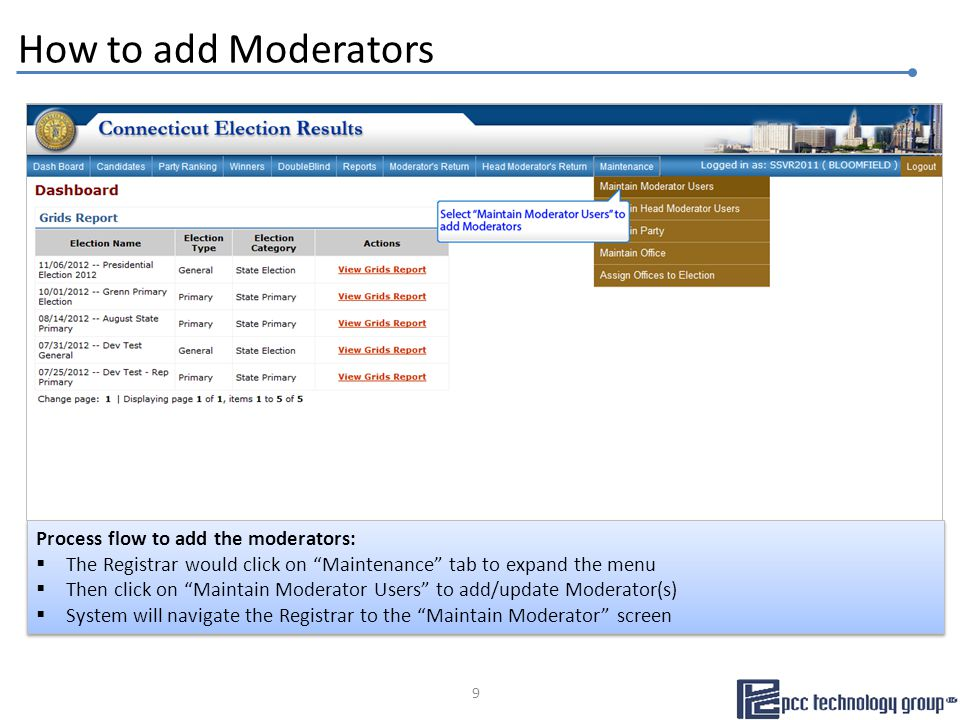 Head Moderator's return process flow: This screen is designed for the Head Moderators to certify the return  They would check the box and enter name to electronically sign and certify the return  Enter contact number  Then click on the Submit the results to Secretary of the State button to submit the return Head Moderator's return process flow: This screen is designed for the Head Moderators to certify the return  They would check the box and enter name to electronically sign and certify the return  Enter contact number  Then click on the Submit the results to Secretary of the State button to submit the return Head Moderator's Return… Certification page 40