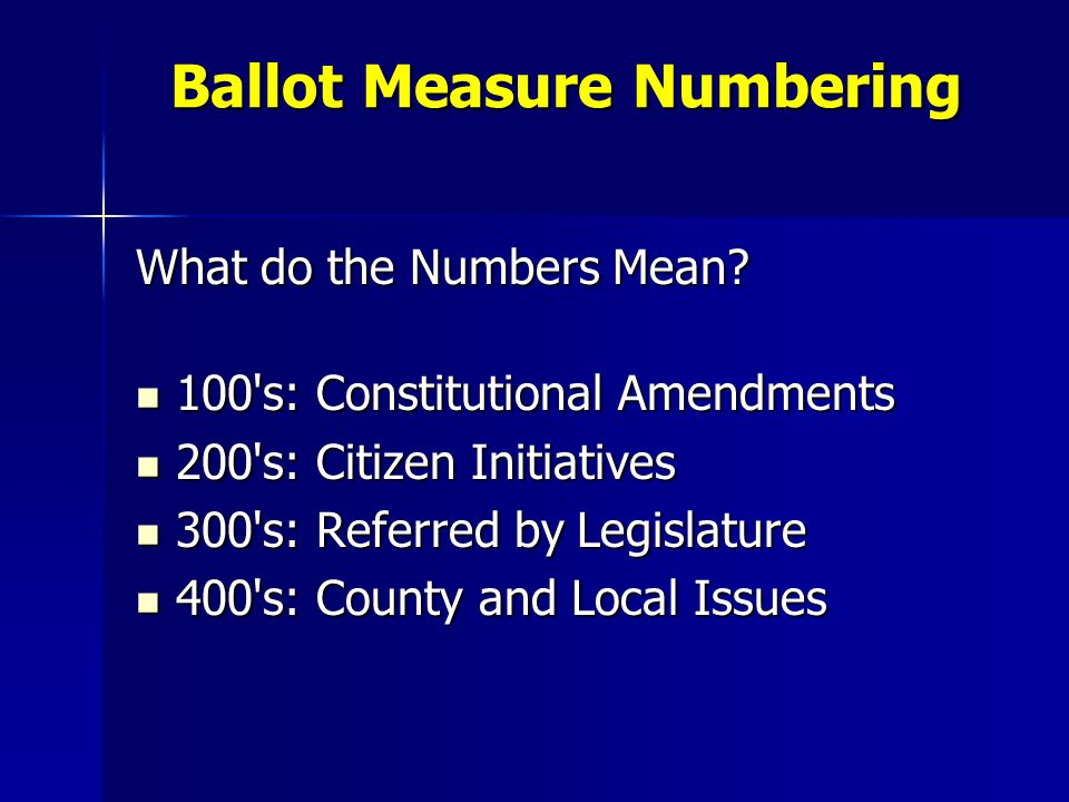 Ballot Measure Numbering What do the Numbers Mean? 100's: Constitutional Amendments 100's: Constitutional Amendments 200's: Citizen Initiatives 200's: