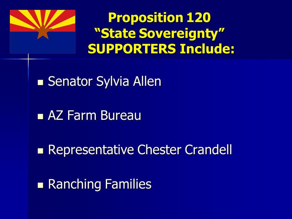 Proposition 120 State Sovereignty SUPPORTERS Include: Senator Sylvia Allen Senator Sylvia Allen AZ Farm Bureau AZ Farm Bureau Representative Chester Crandell Representative Chester Crandell Ranching Families Ranching Families