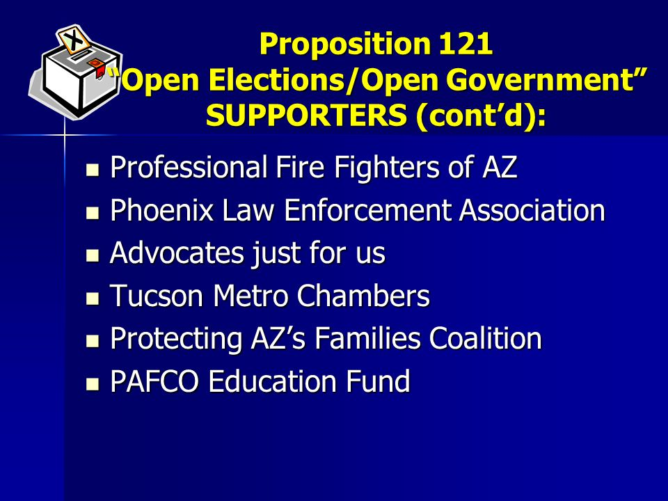Professional Fire Fighters of AZ Professional Fire Fighters of AZ Phoenix Law Enforcement Association Phoenix Law Enforcement Association Advocates just for us Advocates just for us Tucson Metro Chambers Tucson Metro Chambers Protecting AZ's Families Coalition Protecting AZ's Families Coalition PAFCO Education Fund PAFCO Education Fund Proposition 121 Open Elections/Open Government SUPPORTERS (cont'd):