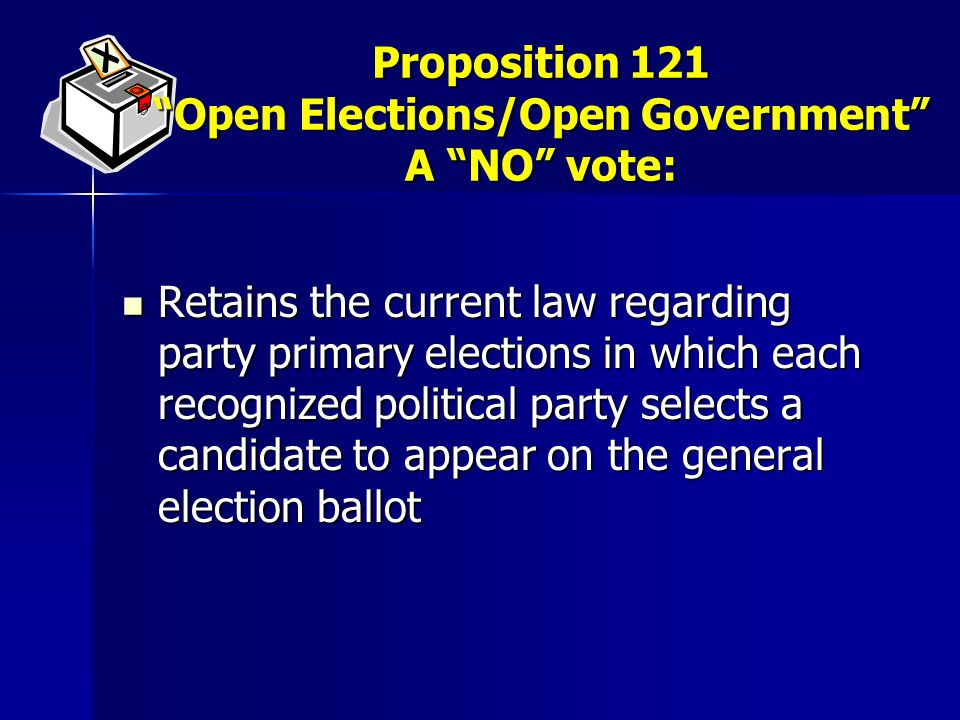 Retains the current law regarding party primary elections in which each recognized political party selects a candidate to appear on the general election ballot Retains the current law regarding party primary elections in which each recognized political party selects a candidate to appear on the general election ballot Proposition 121 Open Elections/Open Government A NO vote:
