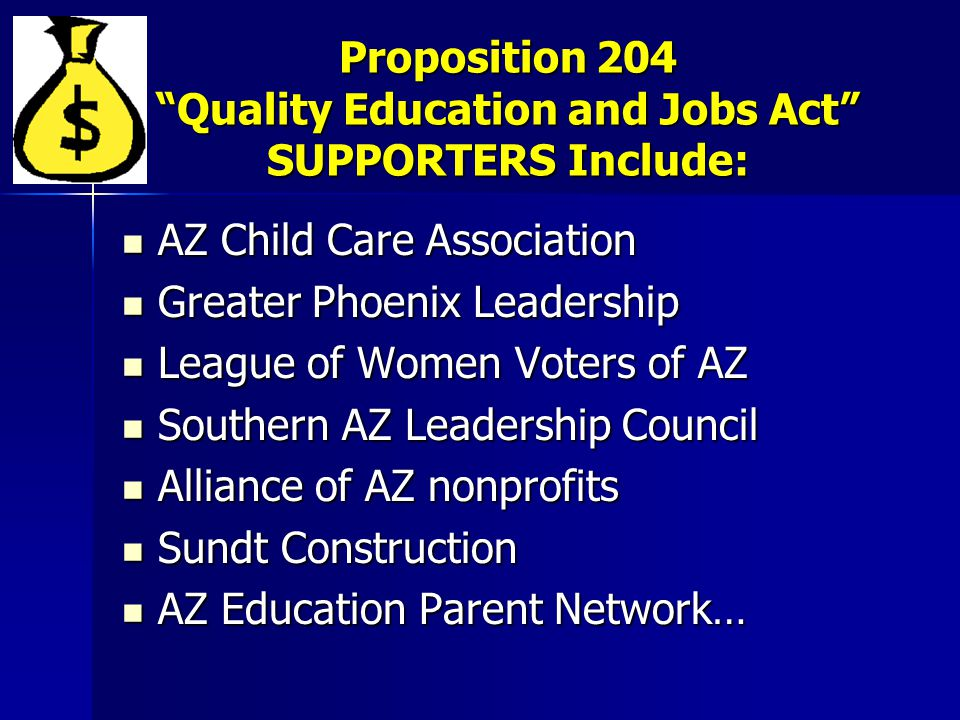 Proposition 204 Quality Education and Jobs Act SUPPORTERS Include: AZ Child Care Association AZ Child Care Association Greater Phoenix Leadership Greater Phoenix Leadership League of Women Voters of AZ League of Women Voters of AZ Southern AZ Leadership Council Southern AZ Leadership Council Alliance of AZ nonprofits Alliance of AZ nonprofits Sundt Construction Sundt Construction AZ Education Parent Network… AZ Education Parent Network…