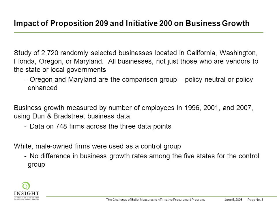 The Challenge of Ballot Measures to Affirmative Procurement ProgramsJune 5, 2008Page No. 8 Impact of Proposition 209 and Initiative 200 on Business Gr