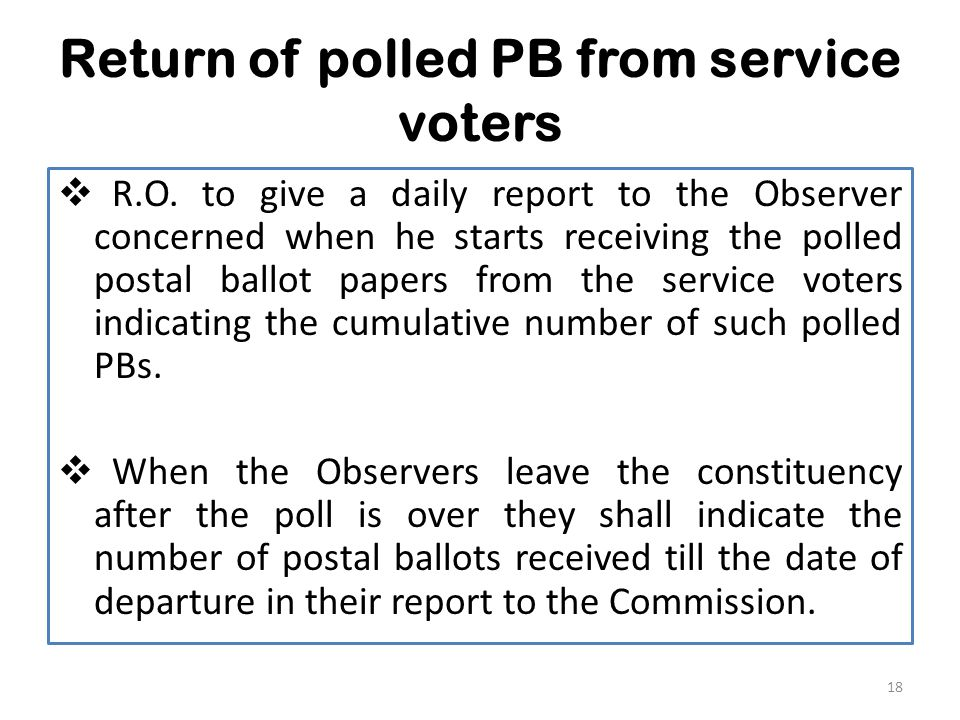 Return of polled PB from service voters  R.O.