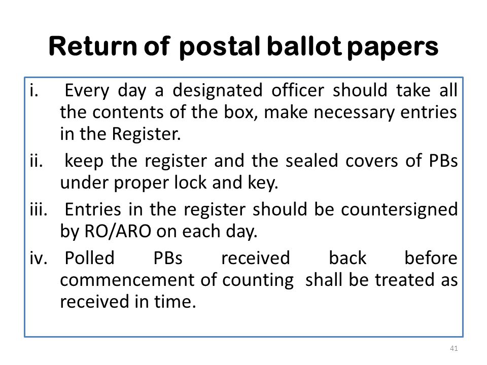 Return of postal ballot papers i.