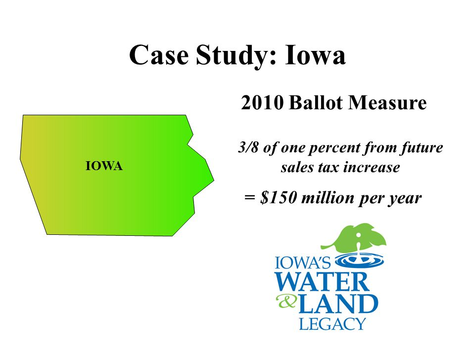Case Study: Iowa 2010 Ballot Measure 3/8 of one percent from future sales tax increase = $150 million per year IOWA