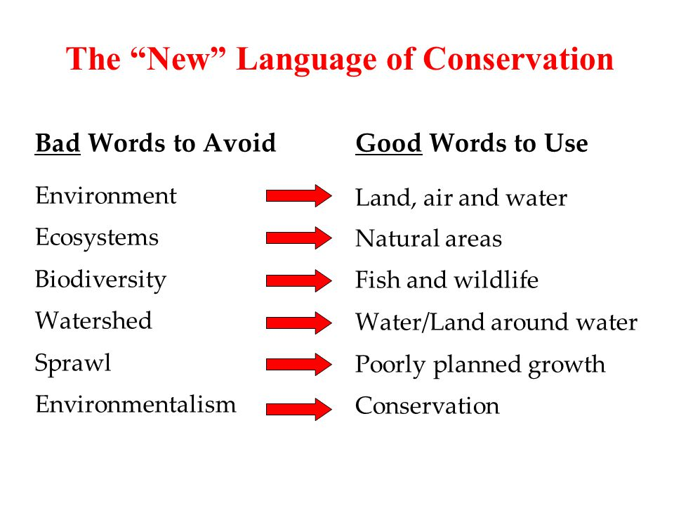 Bad Words to Avoid Environment Ecosystems Biodiversity Watershed Sprawl Environmentalism Good Words to Use Land, air and water Natural areas Fish and wildlife Water/Land around water Poorly planned growth Conservation The New Language of Conservation