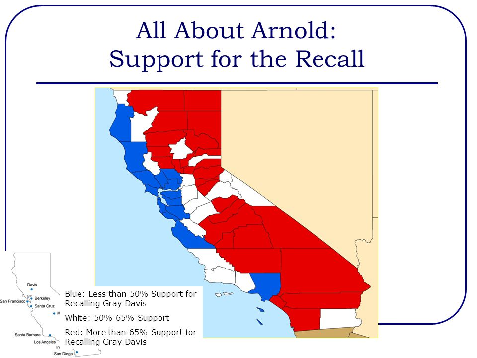 All About Arnold: Support for the Recall Blue: Less than 50% Support for Recalling Gray Davis White: 50%-65% Support Red: More than 65% Support for Re