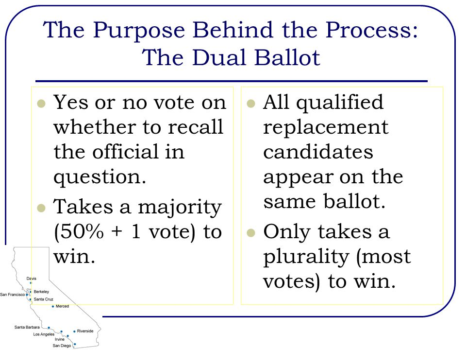 The Purpose Behind the Process: The Dual Ballot Yes or no vote on whether to recall the official in question. Takes a majority (50% + 1 vote) to win.