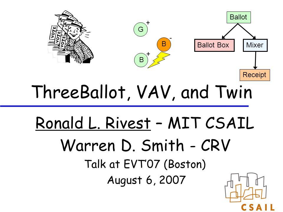 ThreeBallot, VAV, and Twin Ronald L. Rivest – MIT CSAIL Warren D. Smith - CRV Talk at EVT'07 (Boston) August 6, 2007 Ballot Box Ballot Mixer Receipt G
