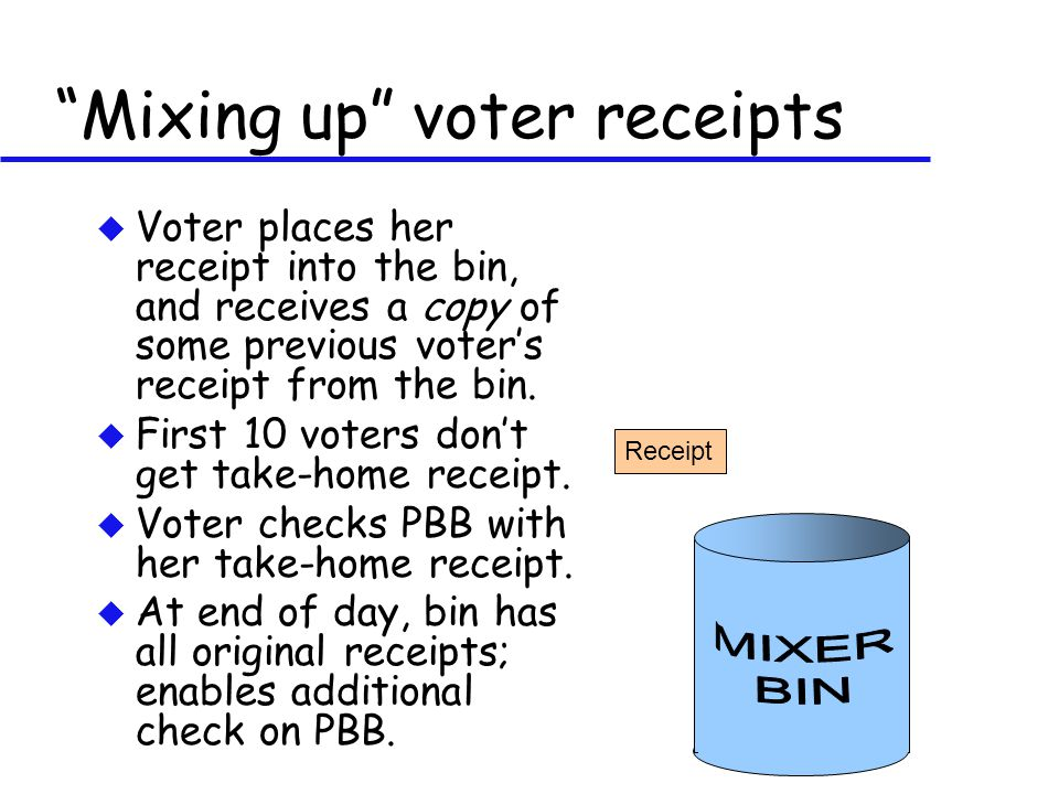 u Voter places her receipt into the bin, and receives a copy of some previous voter's receipt from the bin.