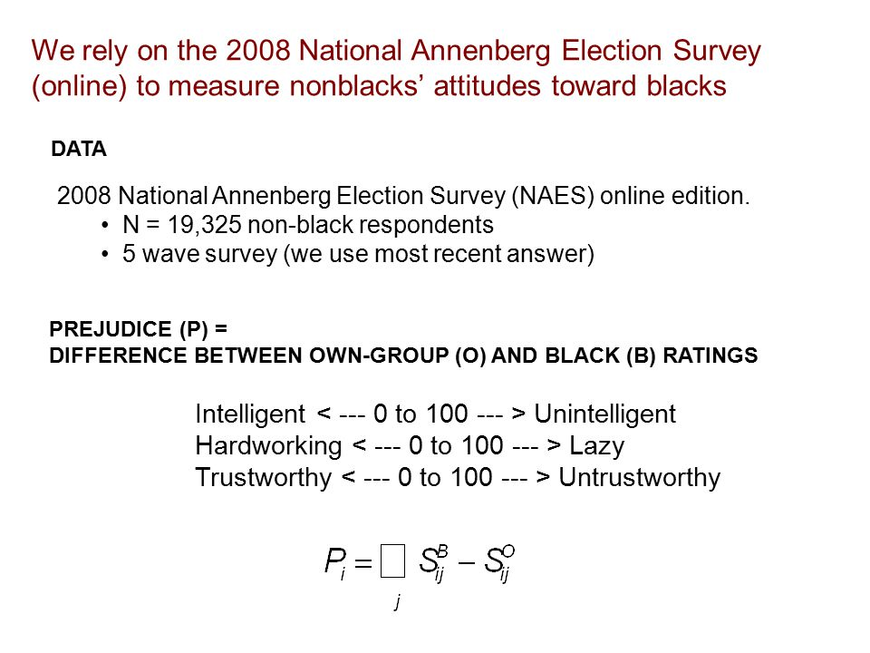 DATA We rely on the 2008 National Annenberg Election Survey (online) to measure nonblacks' attitudes toward blacks 2008 National Annenberg Election Survey (NAES) online edition.
