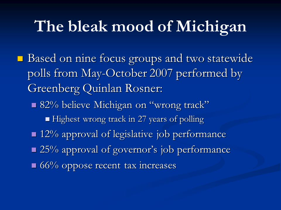 The bleak mood of Michigan Based on nine focus groups and two statewide polls from May-October 2007 performed by Greenberg Quinlan Rosner: Based on nine focus groups and two statewide polls from May-October 2007 performed by Greenberg Quinlan Rosner: 82% believe Michigan on wrong track 82% believe Michigan on wrong track Highest wrong track in 27 years of polling Highest wrong track in 27 years of polling 12% approval of legislative job performance 12% approval of legislative job performance 25% approval of governor's job performance 25% approval of governor's job performance 66% oppose recent tax increases 66% oppose recent tax increases