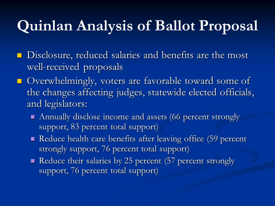 Quinlan Analysis of Ballot Proposal Disclosure, reduced salaries and benefits are the most well-received proposals Disclosure, reduced salaries and benefits are the most well-received proposals Overwhelmingly, voters are favorable toward some of the changes affecting judges, statewide elected officials, and legislators: Overwhelmingly, voters are favorable toward some of the changes affecting judges, statewide elected officials, and legislators: Annually disclose income and assets (66 percent strongly support, 83 percent total support) Annually disclose income and assets (66 percent strongly support, 83 percent total support) Reduce health care benefits after leaving office (59 percent strongly support, 76 percent total support) Reduce health care benefits after leaving office (59 percent strongly support, 76 percent total support) Reduce their salaries by 25 percent (57 percent strongly support, 76 percent total support) Reduce their salaries by 25 percent (57 percent strongly support, 76 percent total support)