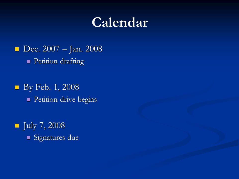 Calendar Dec. 2007 – Jan. 2008 Dec. 2007 – Jan.