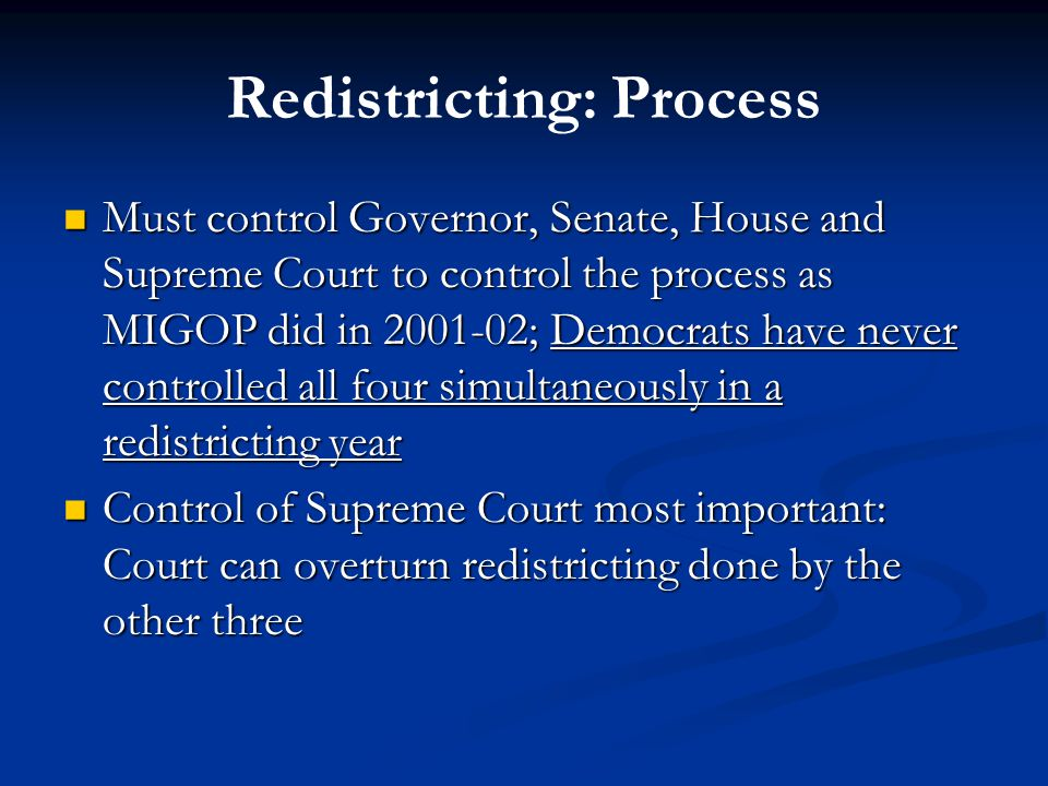 Redistricting: Criteria Focus on preserving county, city and township boundaries Focus on preserving county, city and township boundaries NCEC and other studies show these criteria systematically biased against Democrats NCEC and other studies show these criteria systematically biased against Democrats