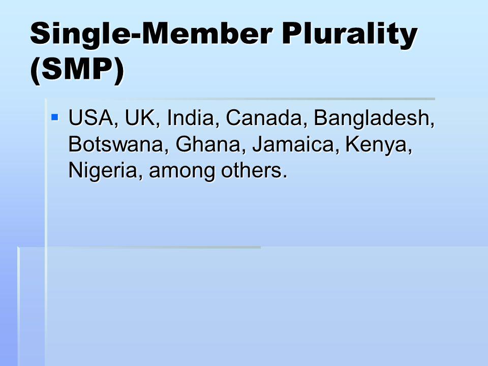 Single-Member Plurality (SMP)  USA, UK, India, Canada, Bangladesh, Botswana, Ghana, Jamaica, Kenya, Nigeria, among others.