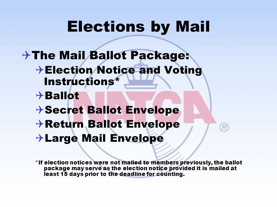 Elections by Mail  The Mail Ballot Package:  Election Notice and Voting Instructions*  Ballot  Secret Ballot Envelope  Return Ballot Envelope  L