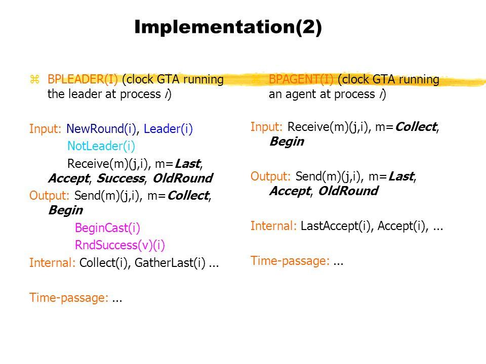 Implementation(2) zBPLEADER(I) (clock GTA running the leader at process i) Input: NewRound(i), Leader(i) NotLeader(i) Receive(m)(j,i), m=Last, Accept, Success, OldRound Output: Send(m)(j,i), m=Collect, Begin BeginCast(i) RndSuccess(v)(i) Internal: Collect(i), GatherLast(i)...