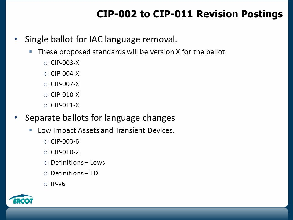 Single ballot for IAC language removal.