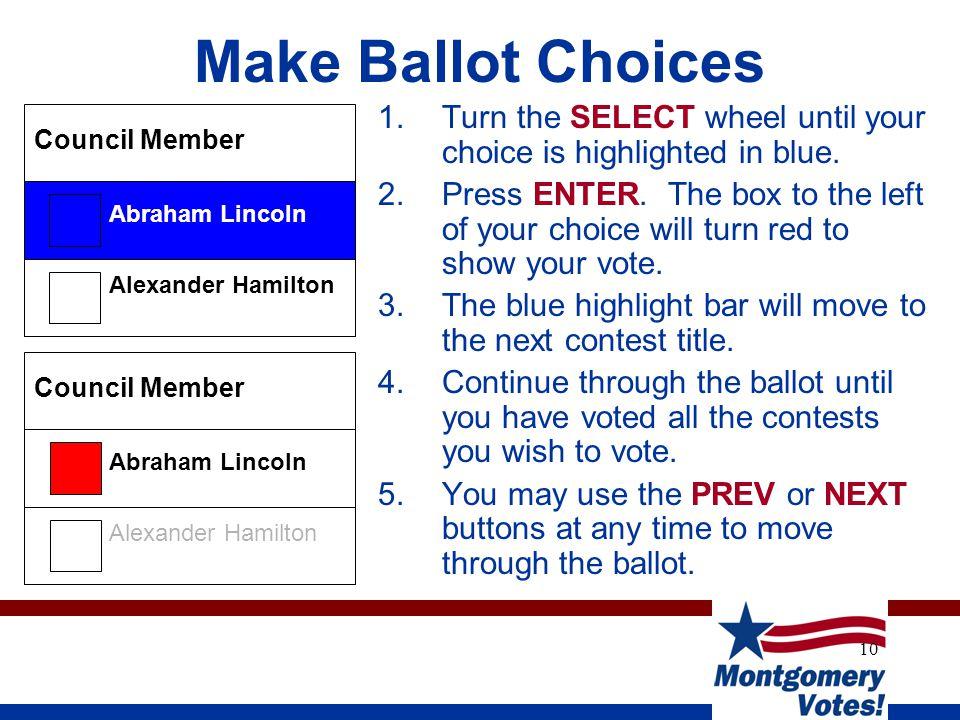 10 Make Ballot Choices Alexander Hamilton Abraham Lincoln Council Member Alexander Hamilton Abraham Lincoln Council Member 1.Turn the SELECT wheel unt