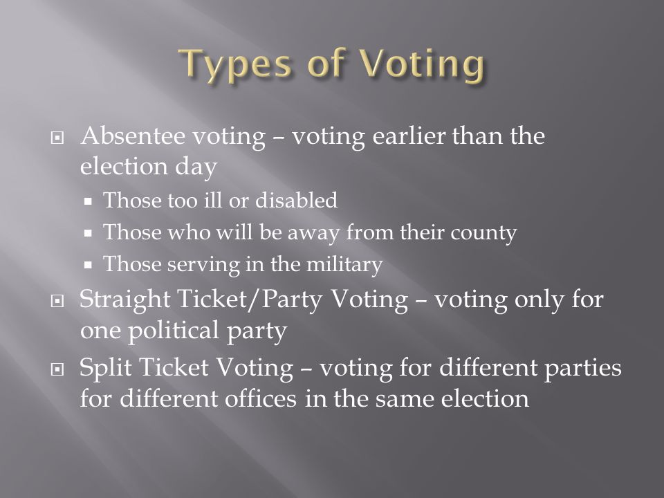  Absentee voting – voting earlier than the election day  Those too ill or disabled  Those who will be away from their county  Those serving in the