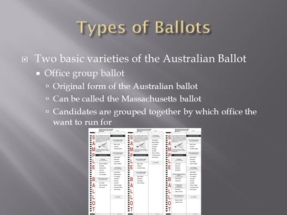  Two basic varieties of the Australian Ballot  Office group ballot  Original form of the Australian ballot  Can be called the Massachusetts ballot