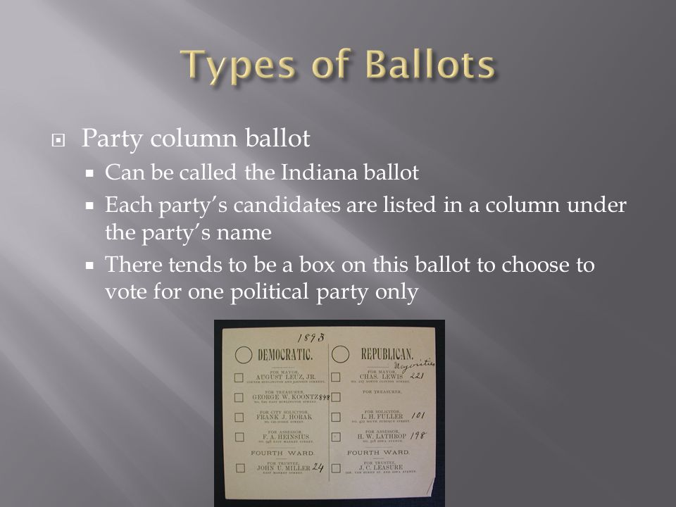  Party column ballot  Can be called the Indiana ballot  Each party's candidates are listed in a column under the party's name  There tends to be a