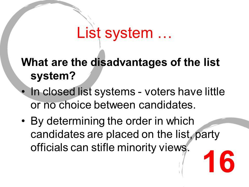 List systems … What are the advantages of the list system.