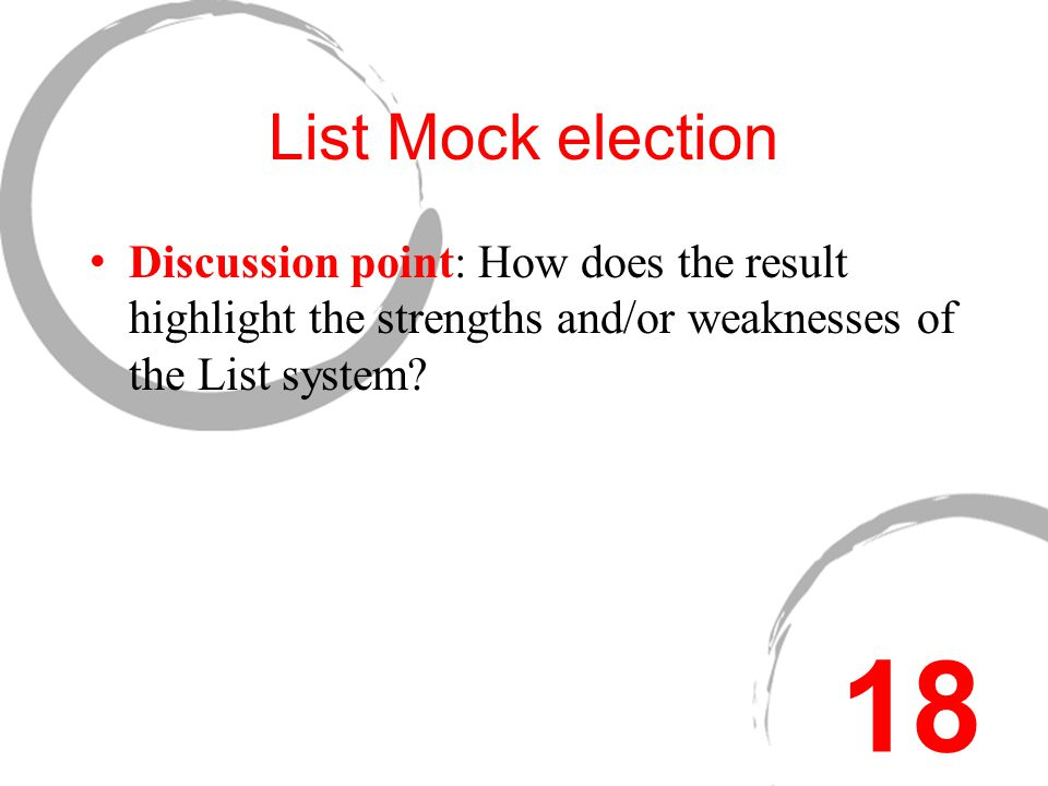A List Mock Election Mock election: List systems – open and closed.