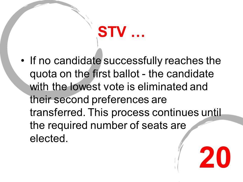Single Transferable Vote (STV) STV uses multi-member constituencies only.