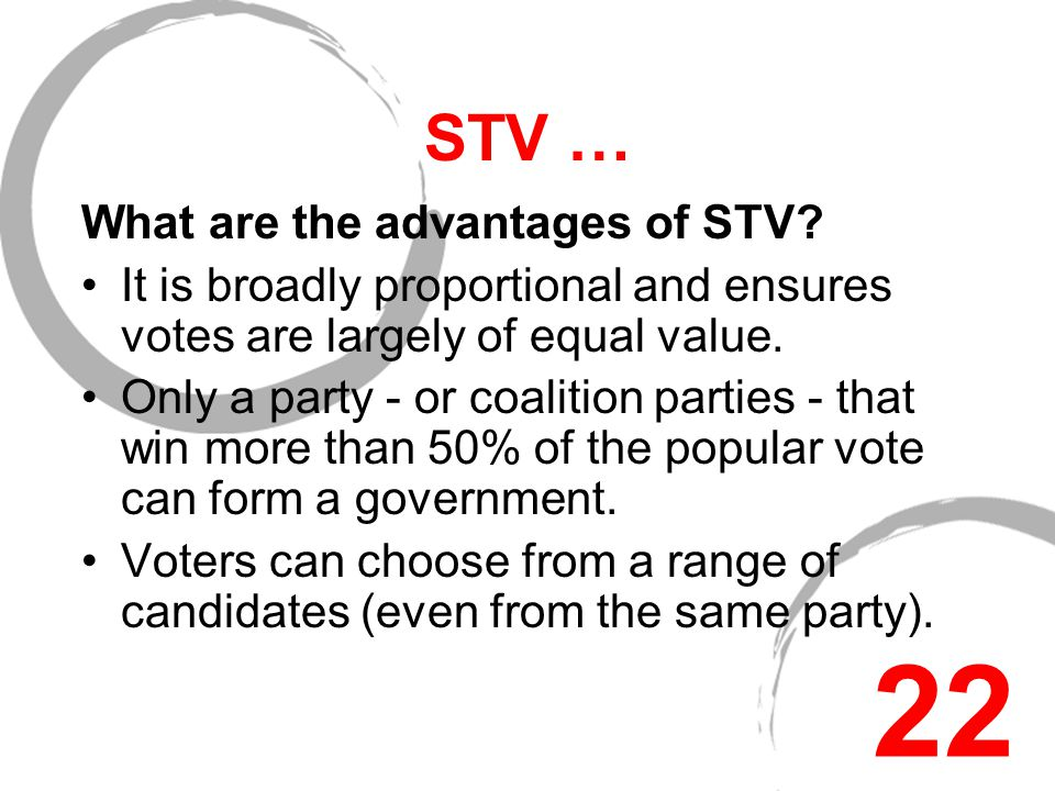 STV … STV is used in local and European elections in Northern Ireland and for the General Election in the Republic of Ireland.