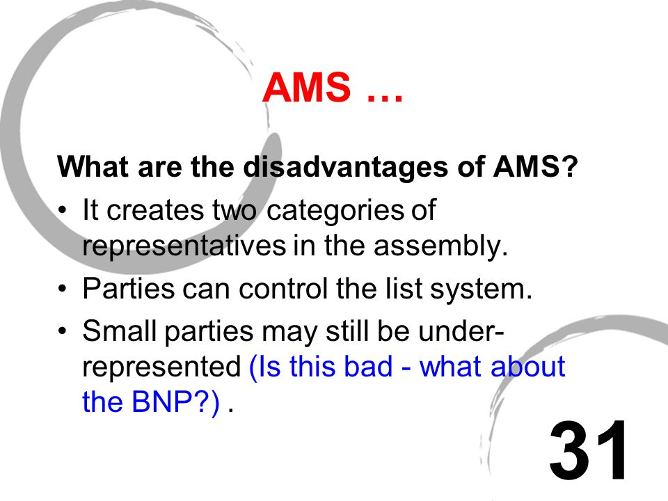 AMS … What are the advantages of AMS.