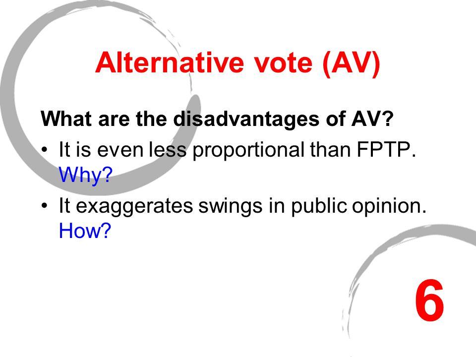 Alternative vote (AV) What are the disadvantages of AV.