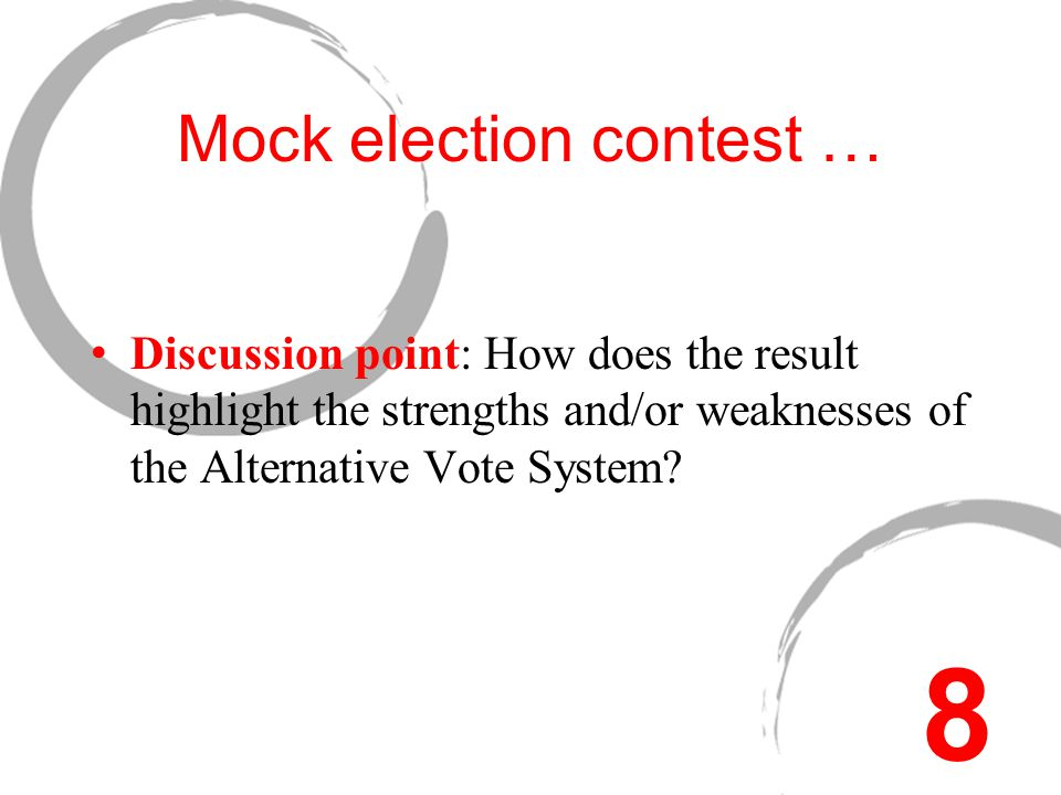 Mock election contest … Discussion point: How does the result highlight the strengths and/or weaknesses of the Alternative Vote System.