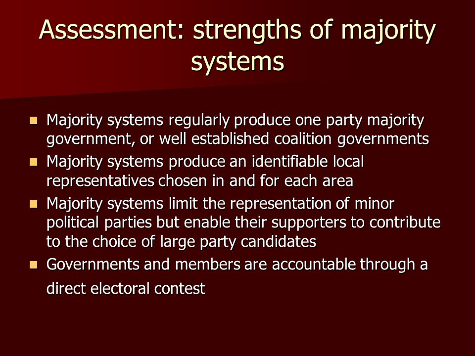 Assessment: strengths of majority systems Majority systems regularly produce one party majority government, or well established coalition governments Majority systems regularly produce one party majority government, or well established coalition governments Majority systems produce an identifiable local representatives chosen in and for each area Majority systems produce an identifiable local representatives chosen in and for each area Majority systems limit the representation of minor political parties but enable their supporters to contribute to the choice of large party candidates Majority systems limit the representation of minor political parties but enable their supporters to contribute to the choice of large party candidates Governments and members are accountable through a direct electoral contest Governments and members are accountable through a direct electoral contest