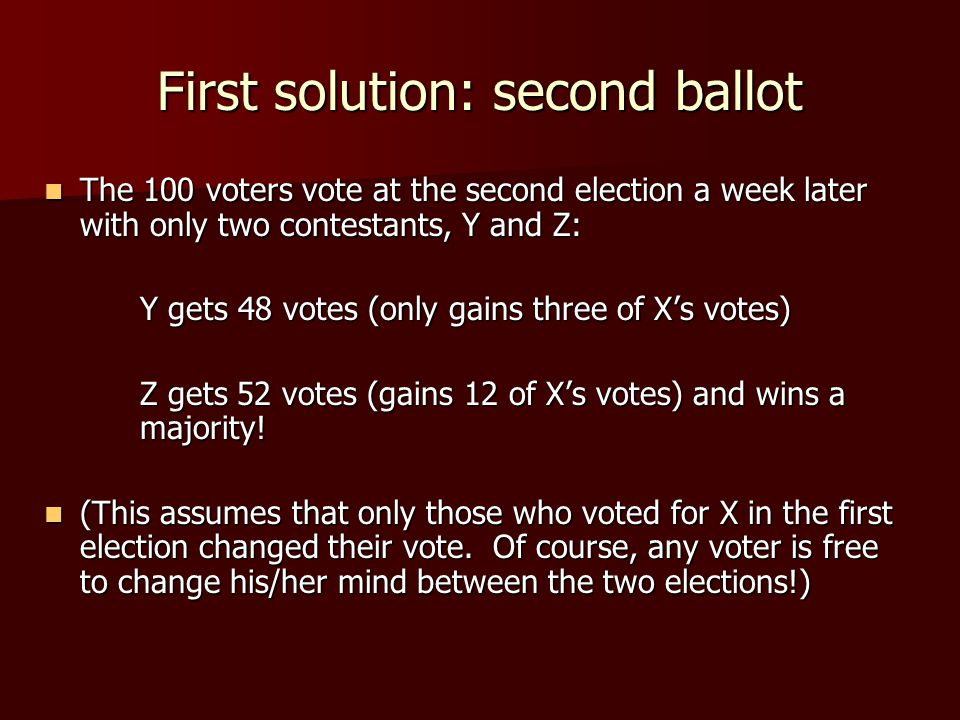 First solution: second ballot The 100 voters vote at the second election a week later with only two contestants, Y and Z: The 100 voters vote at the second election a week later with only two contestants, Y and Z: Y gets 48 votes (only gains three of X's votes) Z gets 52 votes (gains 12 of X's votes) and wins a majority.
