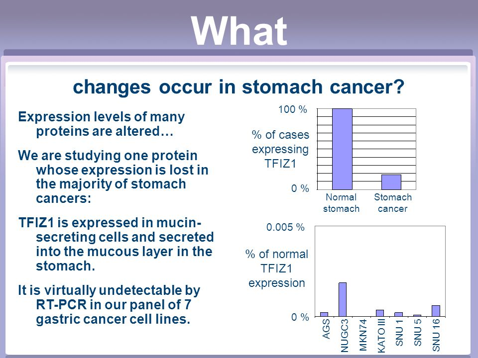 What changes occur in stomach cancer.
